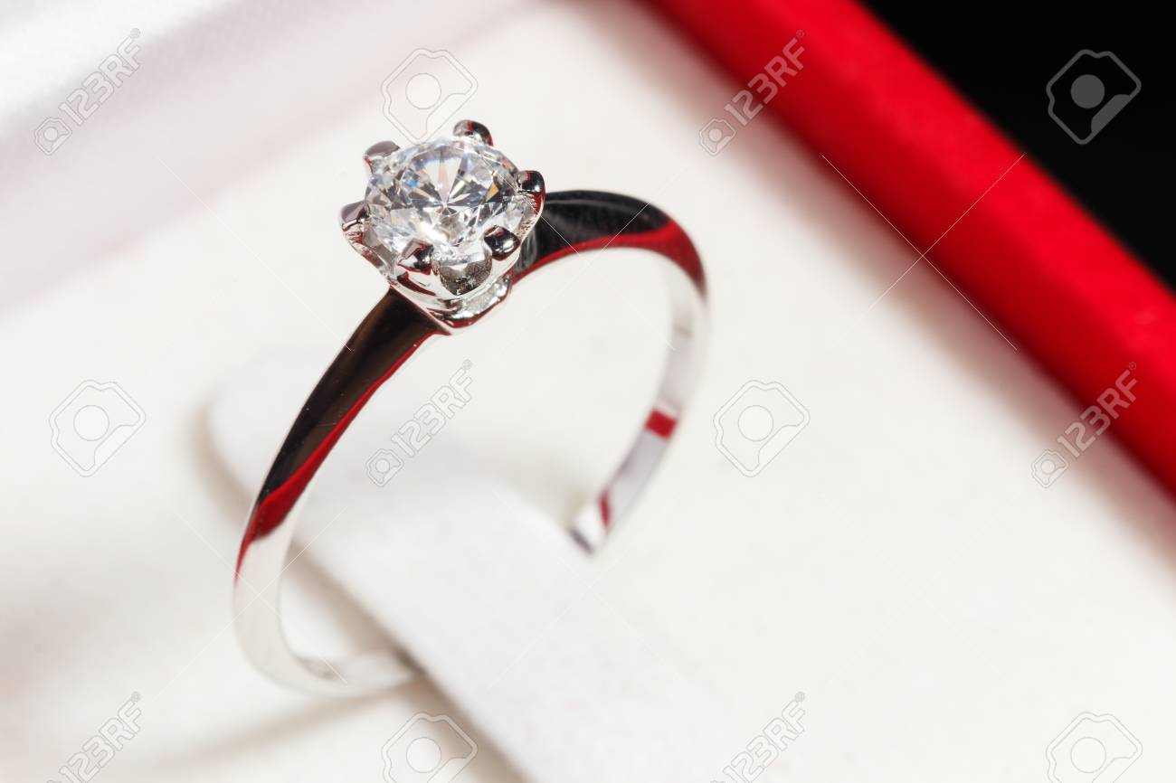 Close Up Silver Diamond Ring In Red Box Stock Photo 66983085: Red Wedding Ring Box At Reisefeber.org