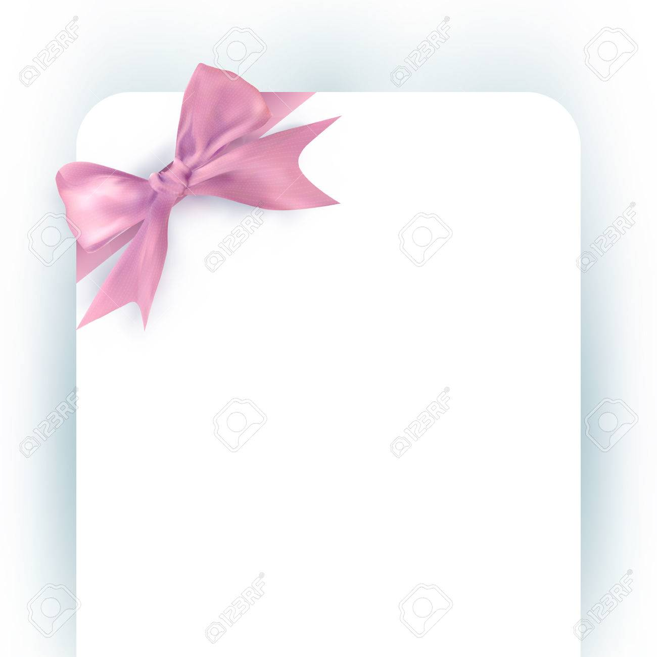 Beautiful Pink Bow With Ribbon On Invitation Card Template For