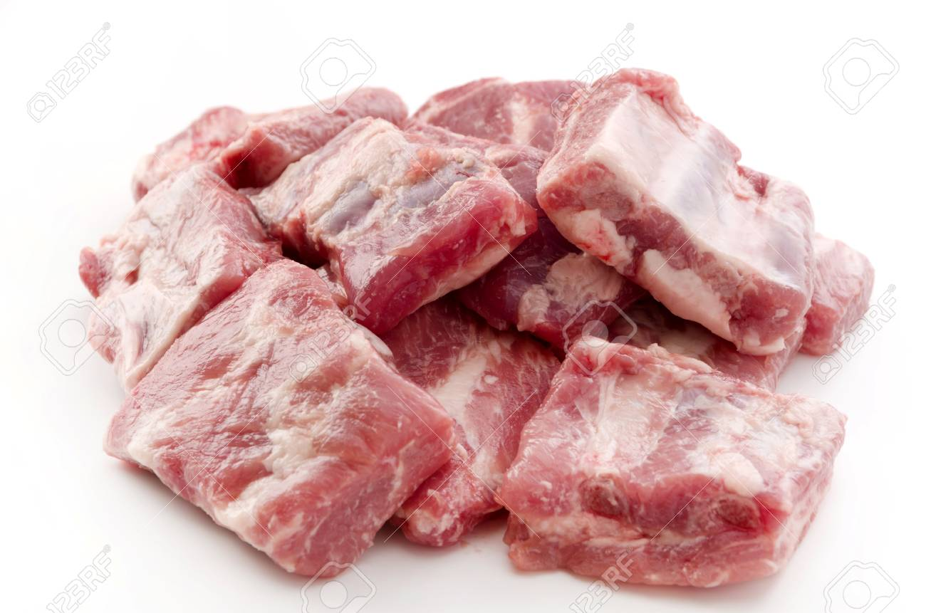 Raw Pork Ribs Isolated On White Background - 62708677