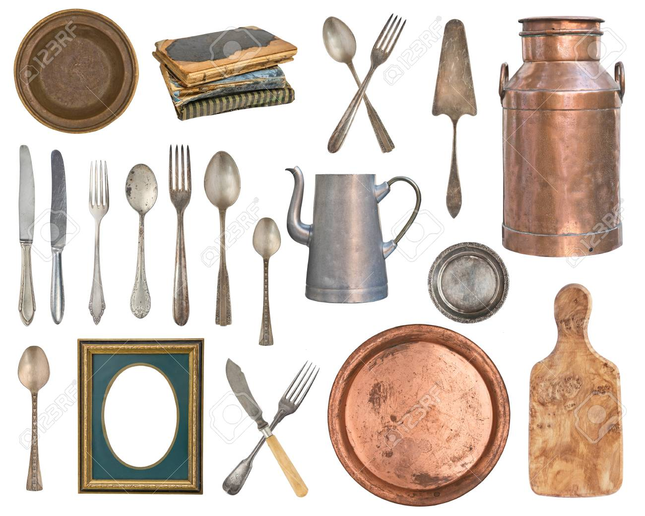 Set of old and wooden items. Silverware, kitchen accessories...
