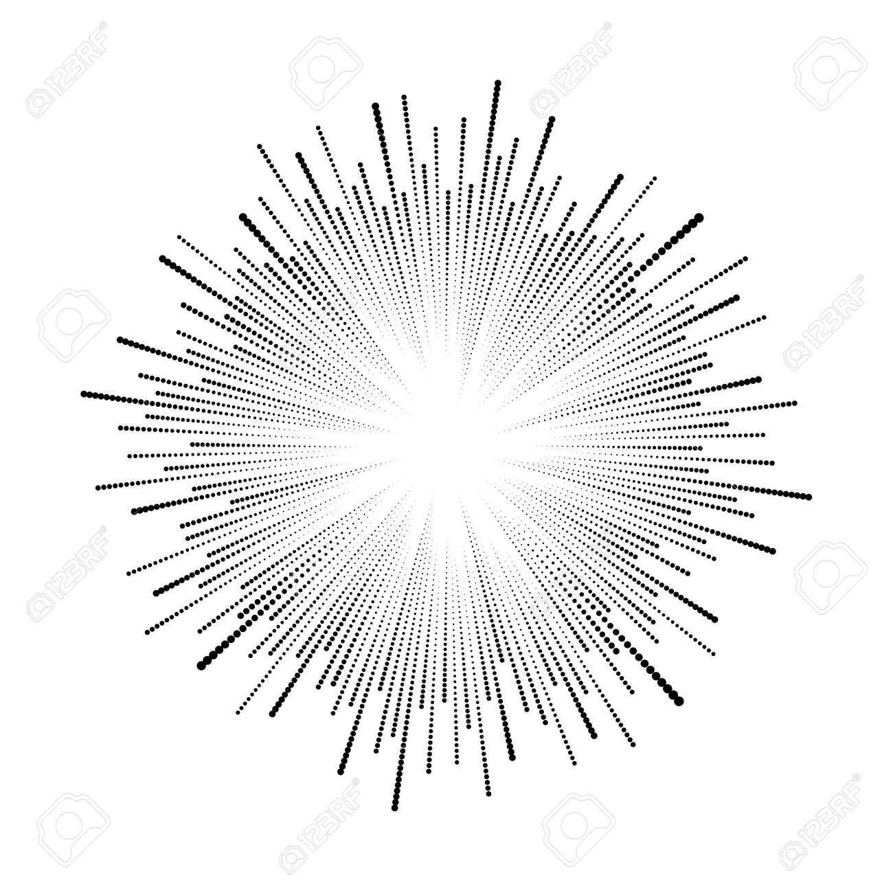 Black radial halftone dotted speed lines. Round form. Explosion background. Star rays. Sunburst. Fireworks. Handwritten design element for frames, prints, tattoo, web, template and comic books - 155814272