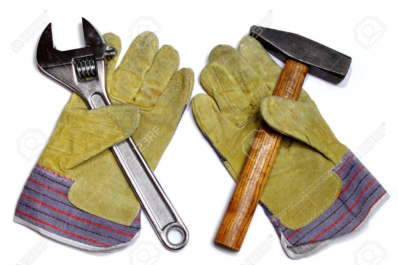 Hammer, crescent wrench and pair of work gloves Stock Photo - 6909719