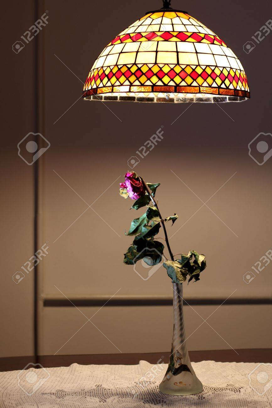 One dried rose in glass vase under pendant light Stock Photo - 7929276