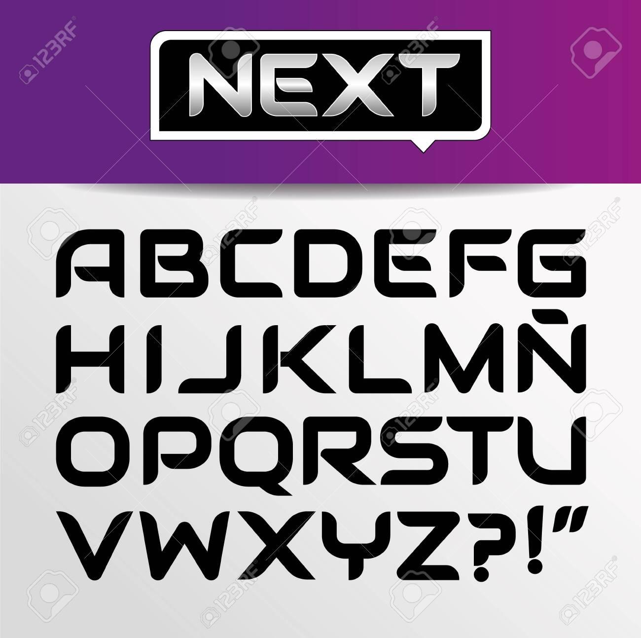 Trendy modern stylish bold font alphabet with upper case set. Vector illustration - 131866405