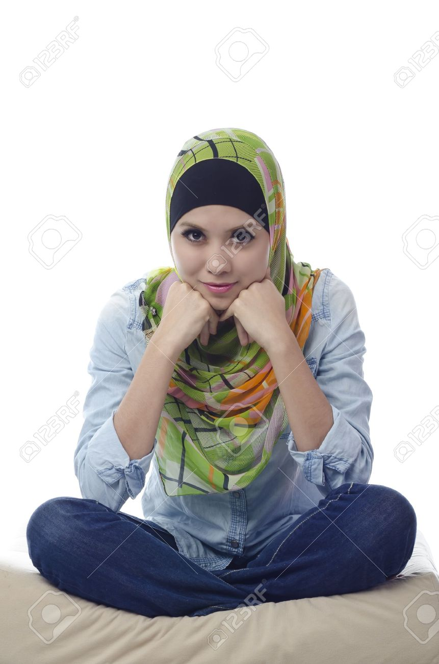 Potrait of beautiful young muslim girl isolated on white background stock photo 11986930