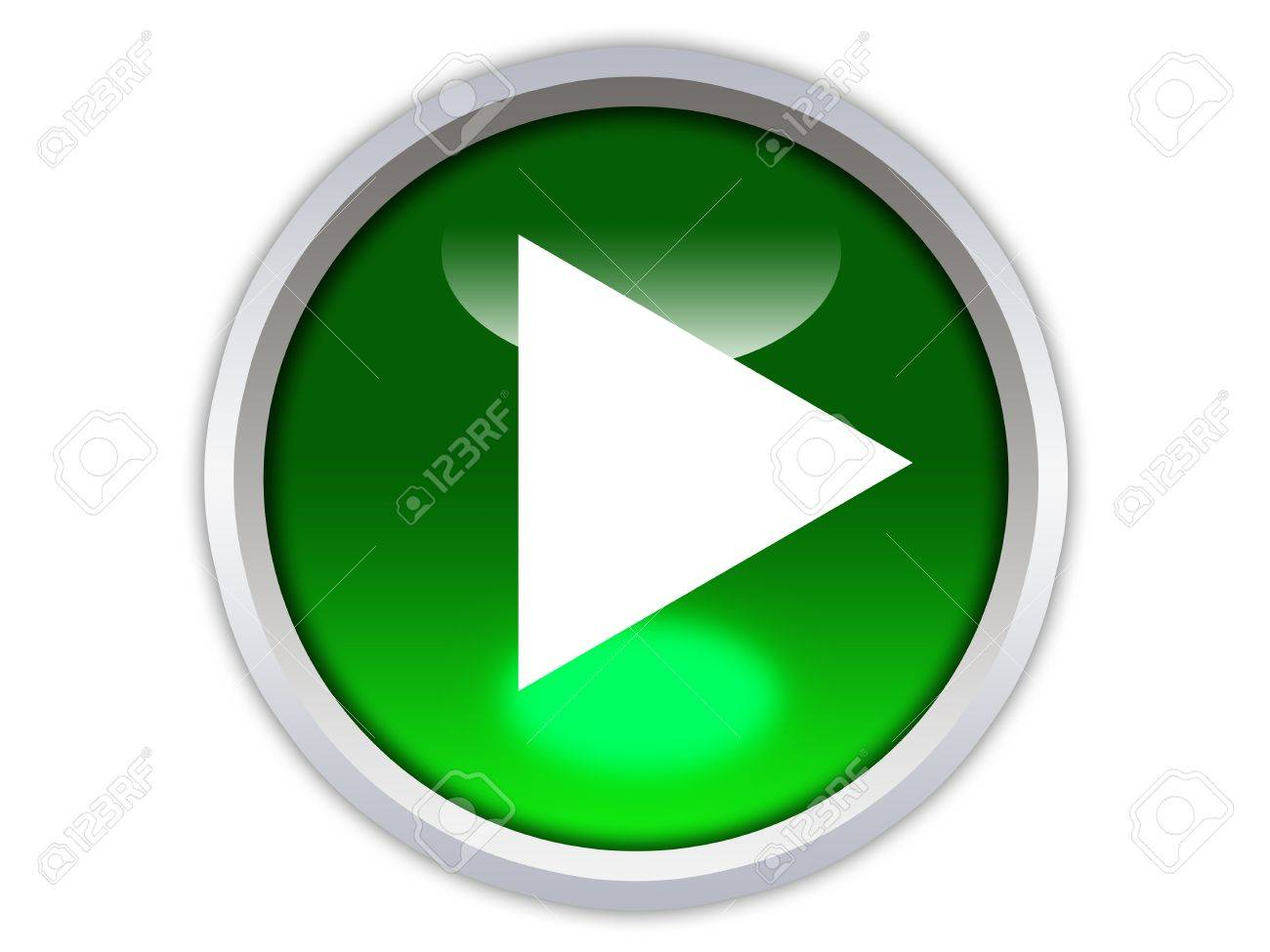 green glossy button with white triangle turned left isolated over white background Stock Photo - 12603056