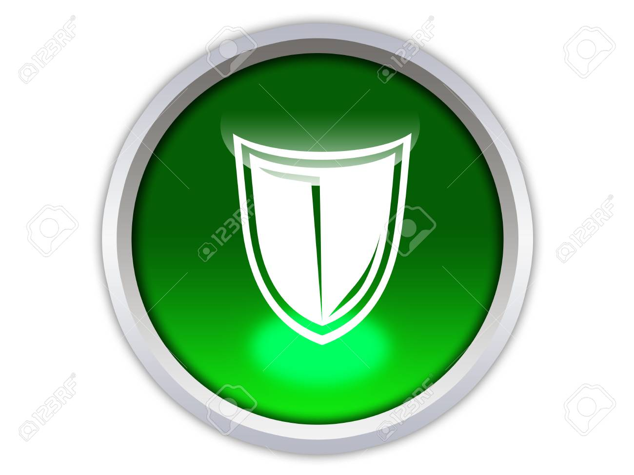 protection symbol on green glossy button isolated over white background Stock Photo - 12603151