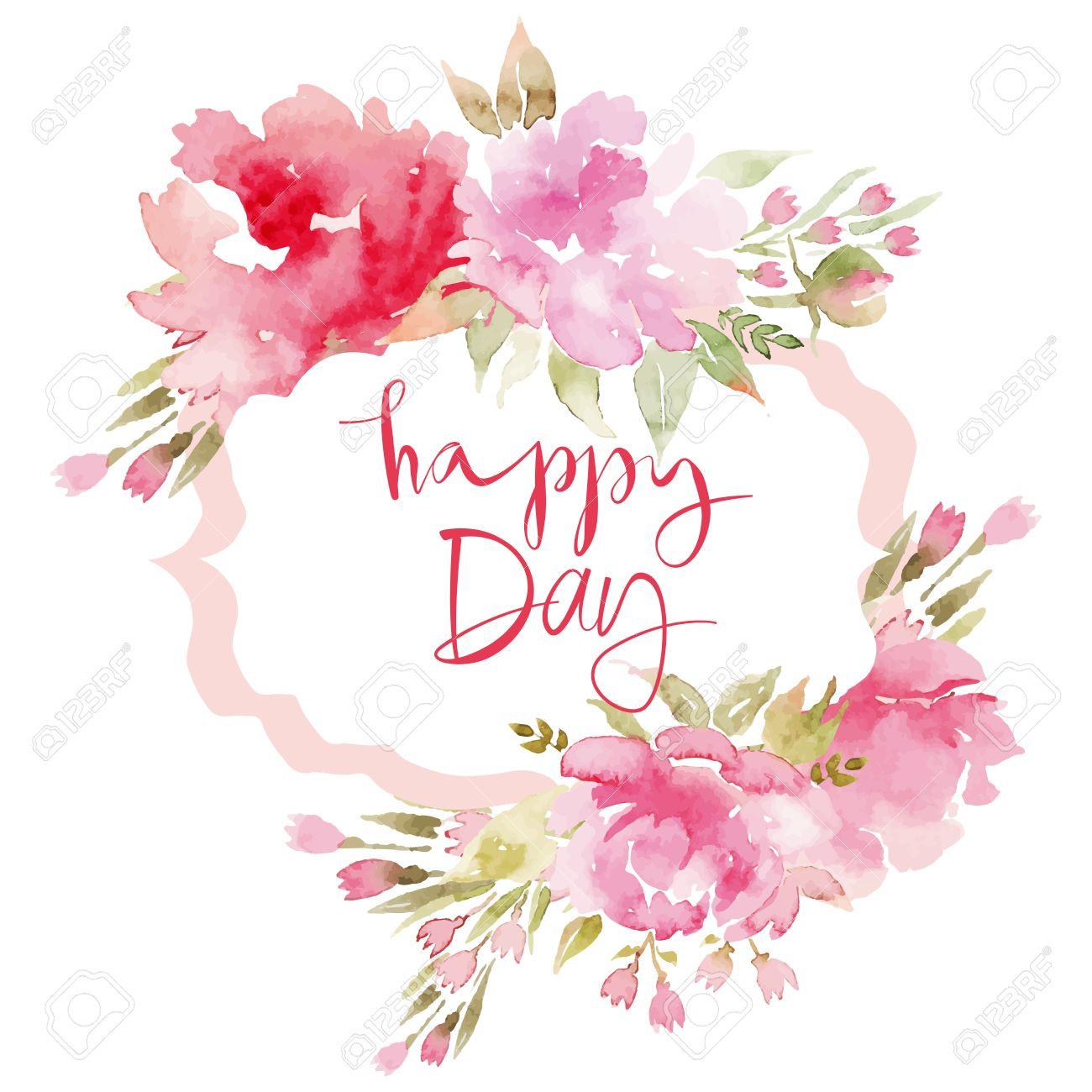 水彩のグリーティング カードの花。手作り。おめでとうございます