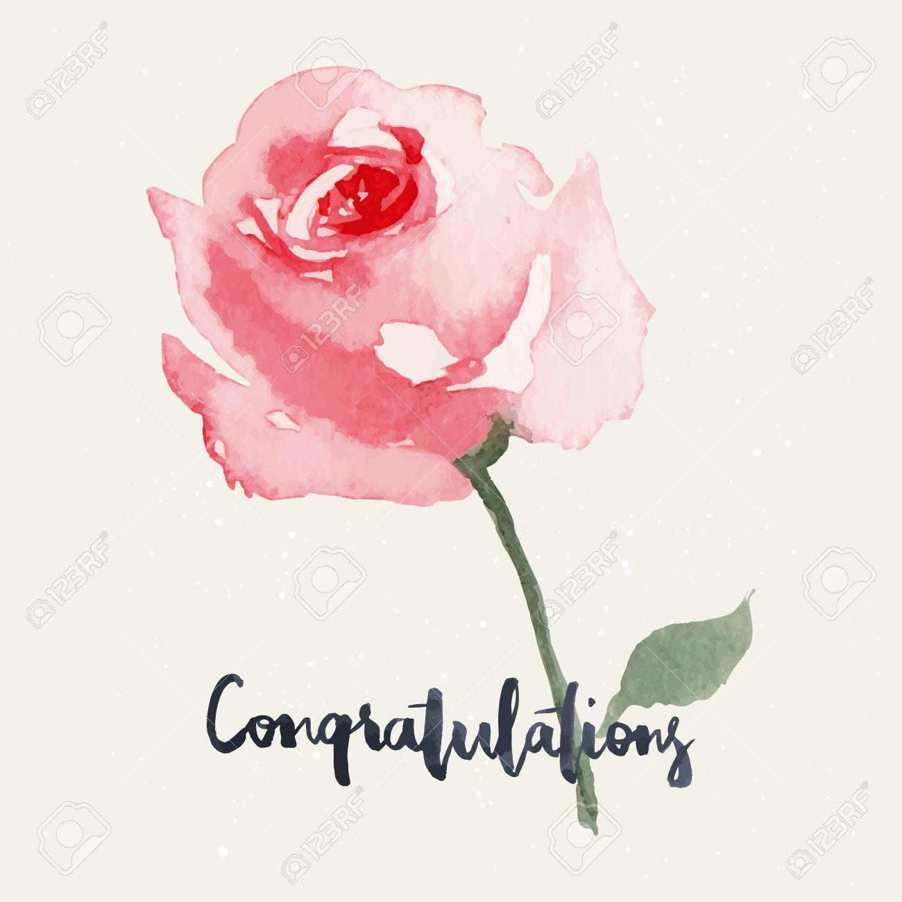 Rose Aquarelle Fleurs De Cartes De Voeux Handmade Felicitations
