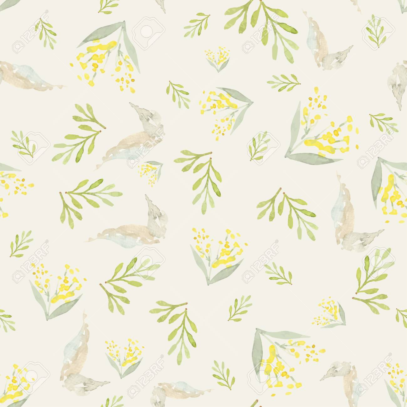 watercolor flowers seamless pattern suitable for packaging and