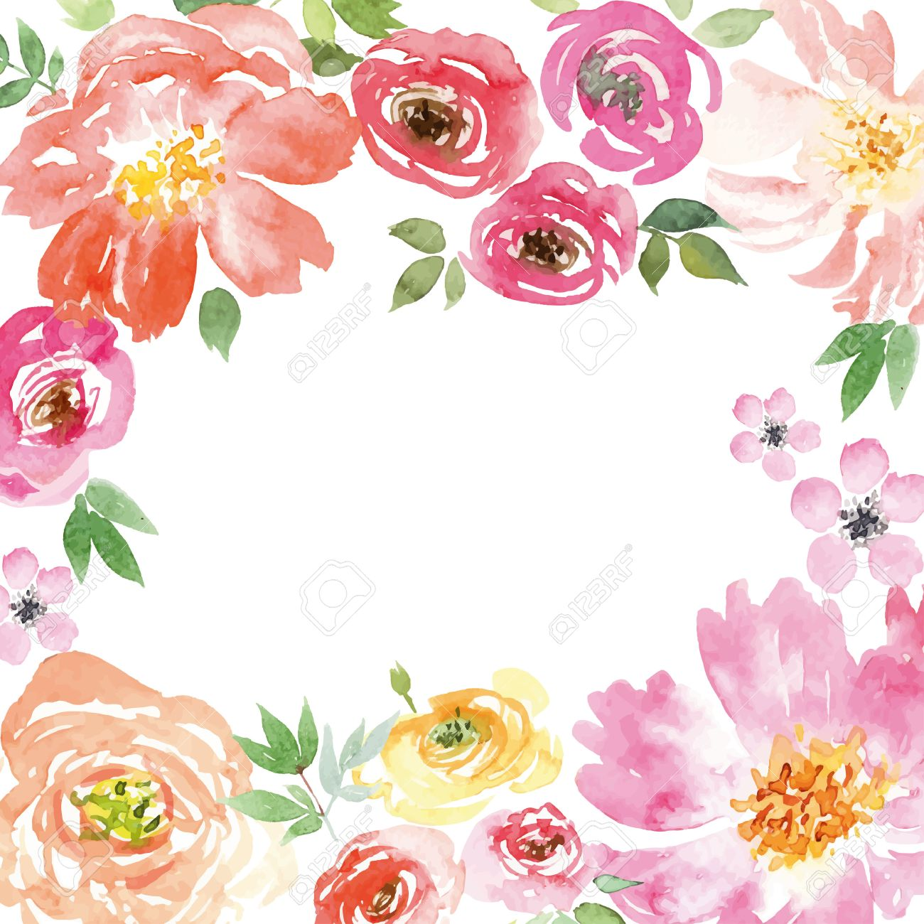Spring Flowers Illustration Vector Pattern Frame Hand Lettering