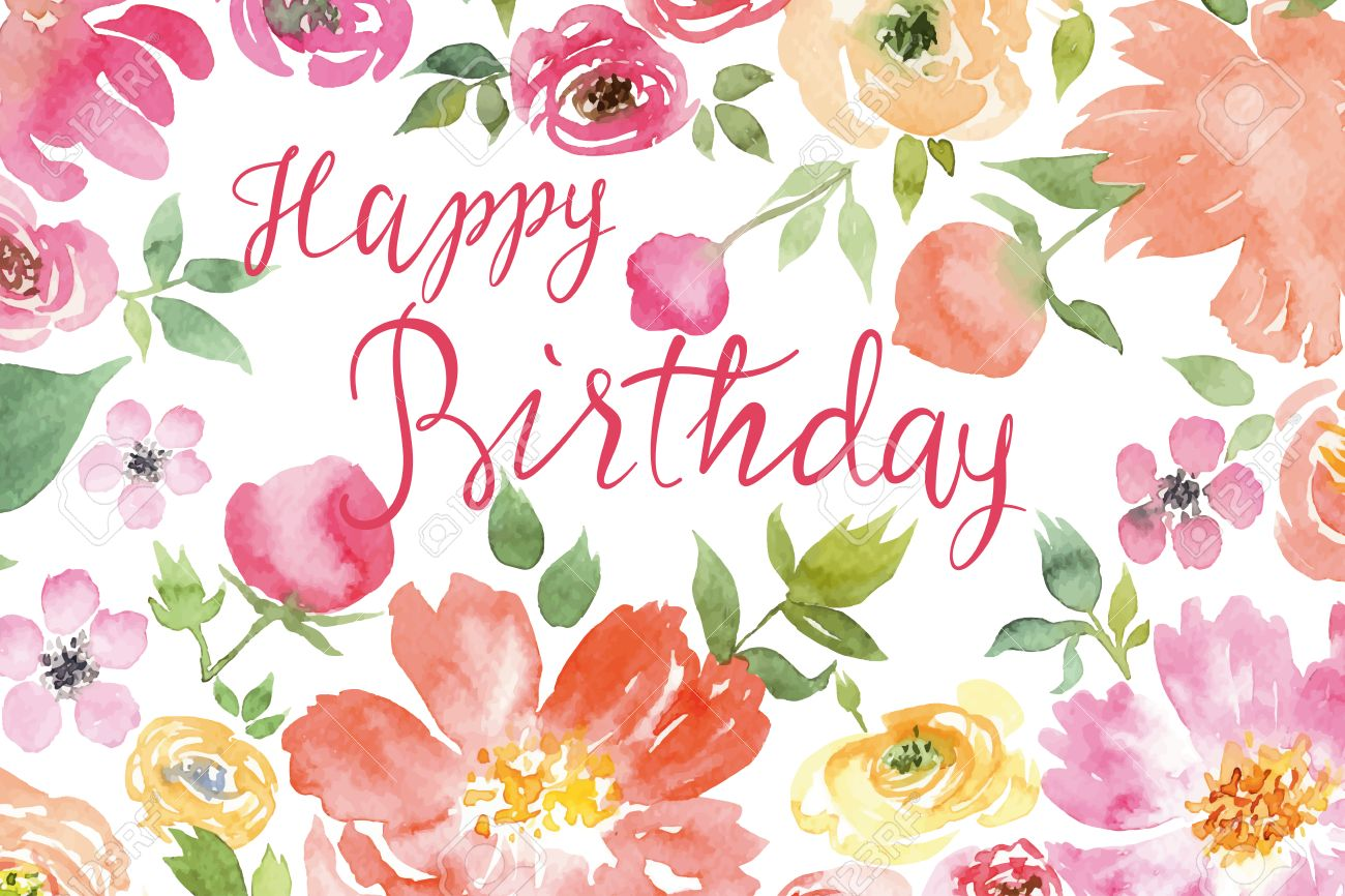Flowers Watercolor Greeting Card Vector Birthday Stock