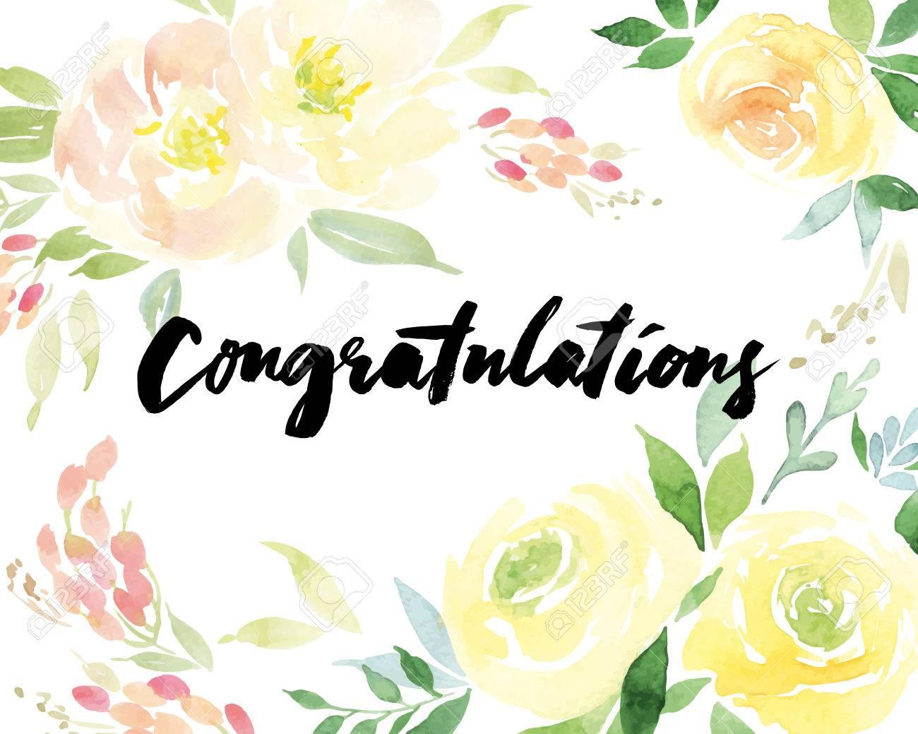 Watercolor greeting card flowers. Handmade. Congratulations. - 40045119