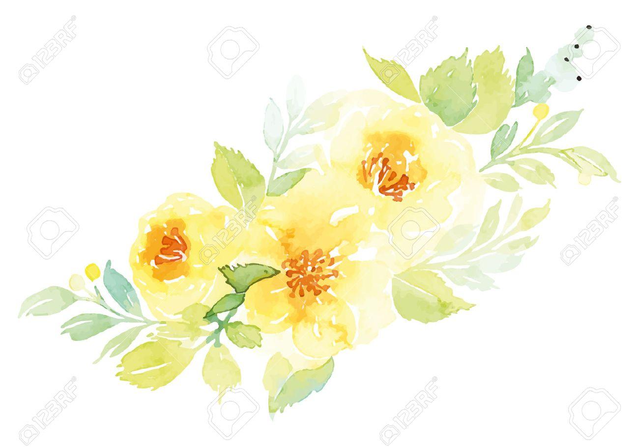 水彩のグリーティング カードの花。手作り。 ロイヤリティフリークリップ