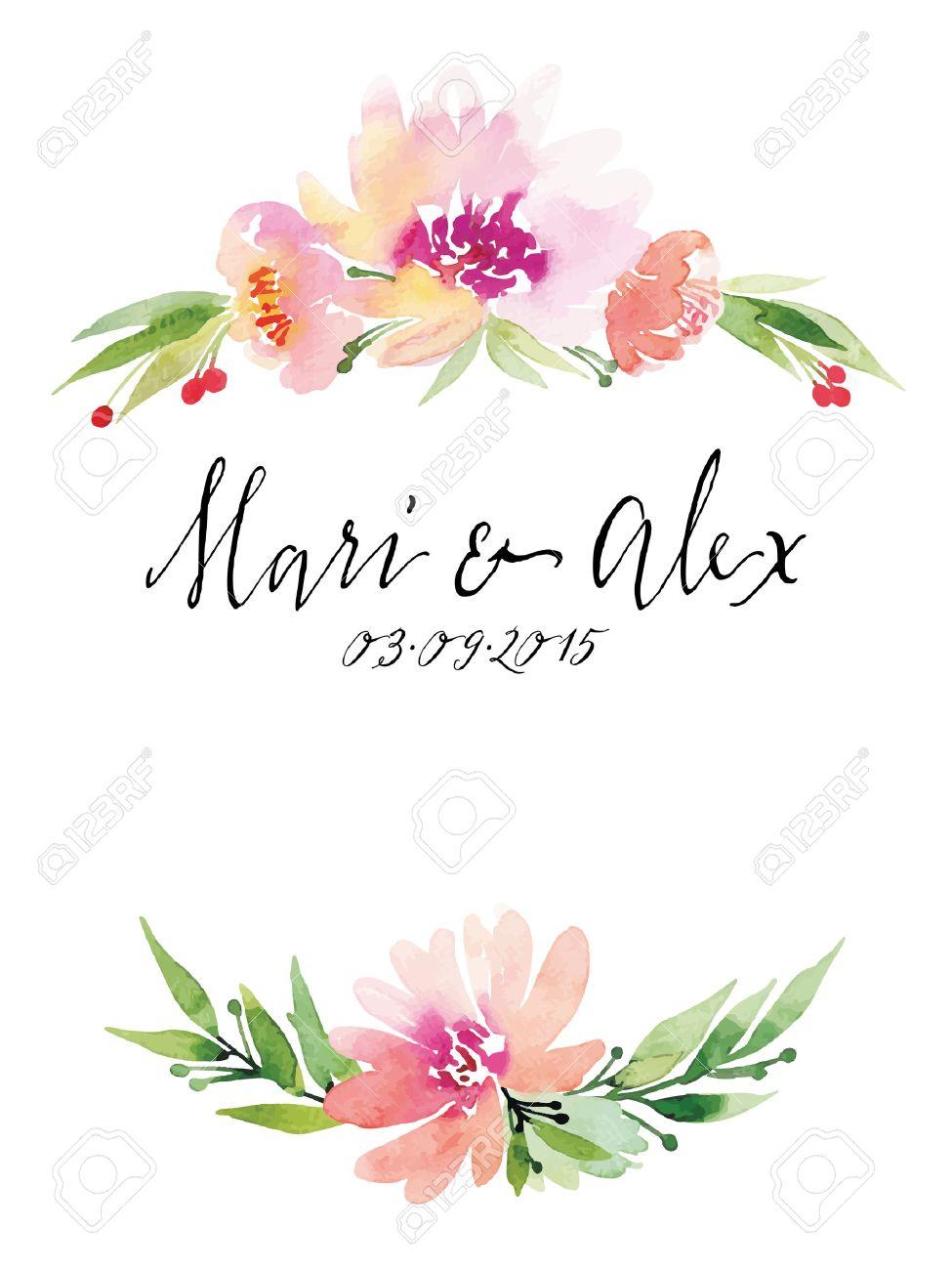 Watercolor greeting card flowers. Handmade. - 42524184