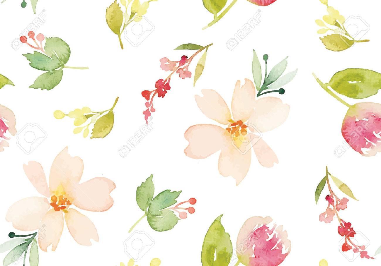 水彩花。シームレス パターン。ベクトル。イラスト。穏やかな