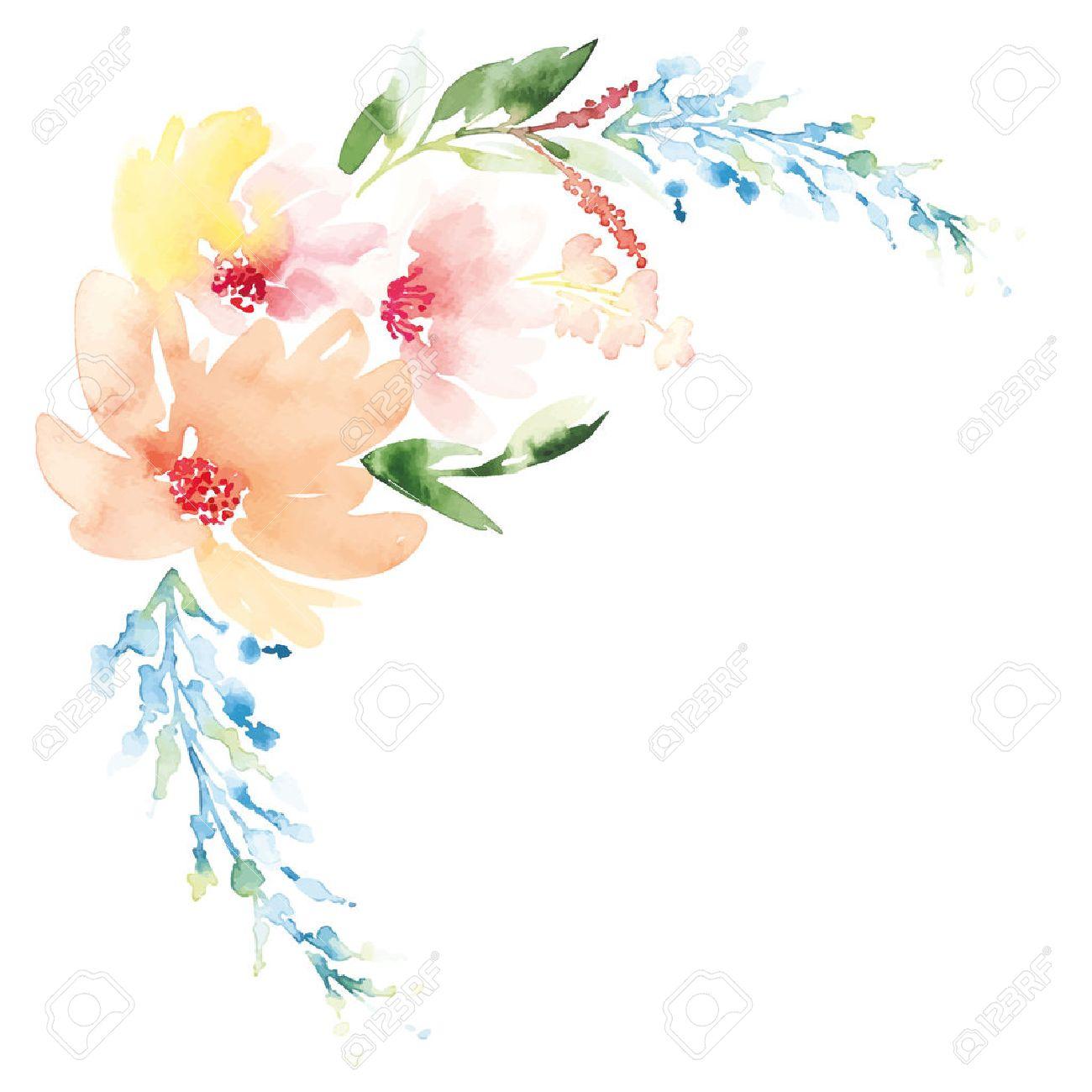 Открытка с цветами акварелью 730