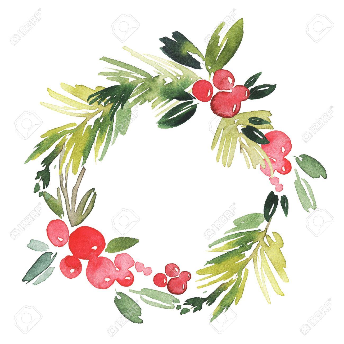 Christmas Wreath Watercolor Handmade Holiday Card Stock Photo