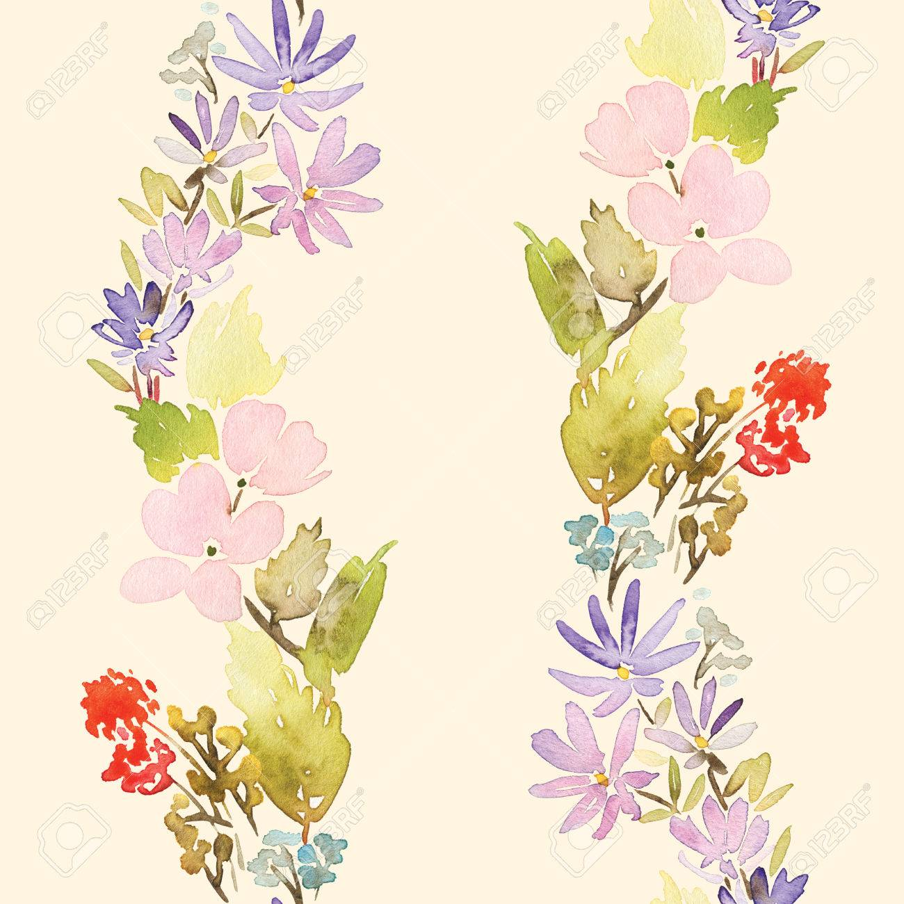Seamless Spring Pattern Watercolor Painting Well Suited For