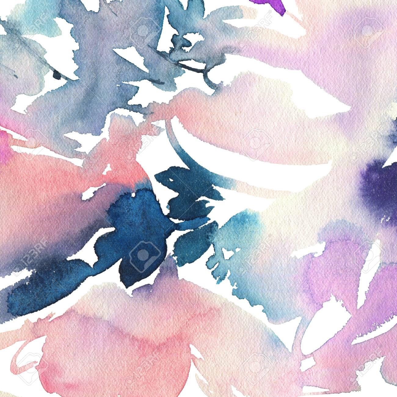 Abstrait Arriere Plan Pour Une Carte La Peinture A L Aquarelle Fait Main Peindre Les Taches Gamma Froid Banque D Images Et Photos Libres De Droits Image 51843065