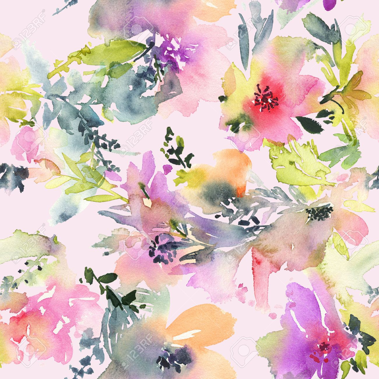 Abstract Watercolor Flowers Seamless Pattern Bright Colors The Unusual Shape Stock Photo