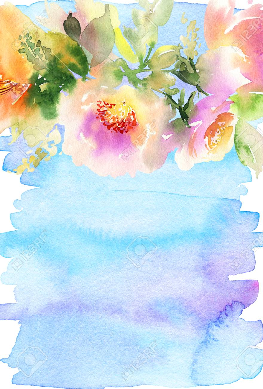 Greeting Card With Flowers Pastel Colors Watercolor Painting Stock Photo Picture And Royalty Free Image Image 54739829