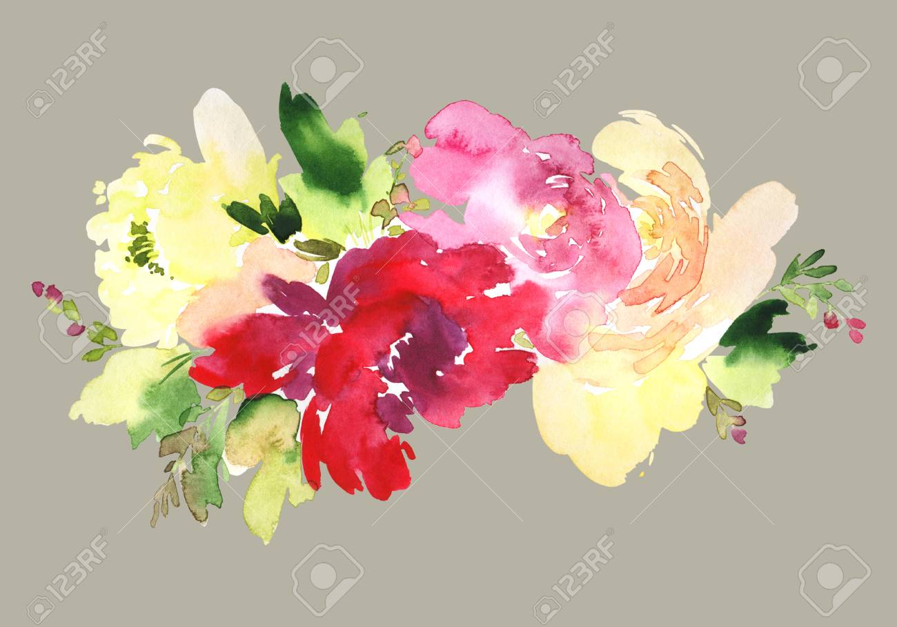 Flowers Watercolor Illustration. Manual Composition. Mother\'s ...