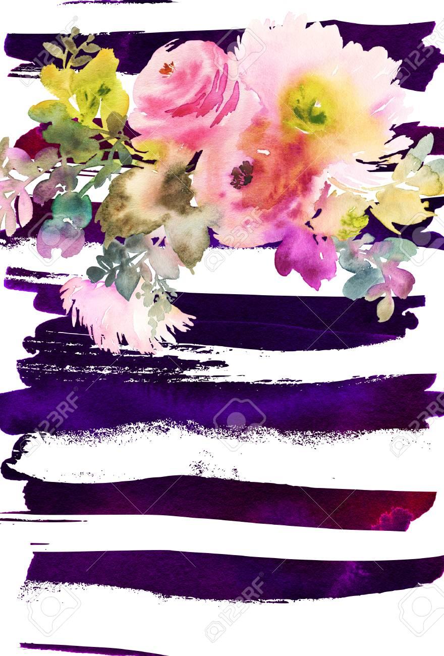 Wenskaart Met Bloemen Pastelkleuren Handgemaakt Schilderen Van De