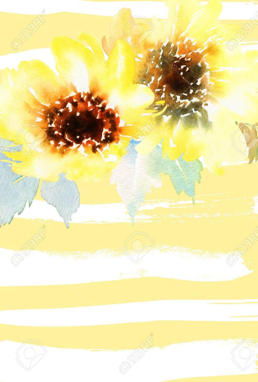 Aquarell Sonnenblumen. Postkarte Für Die Hochzeit, Geburtstagsparty ...