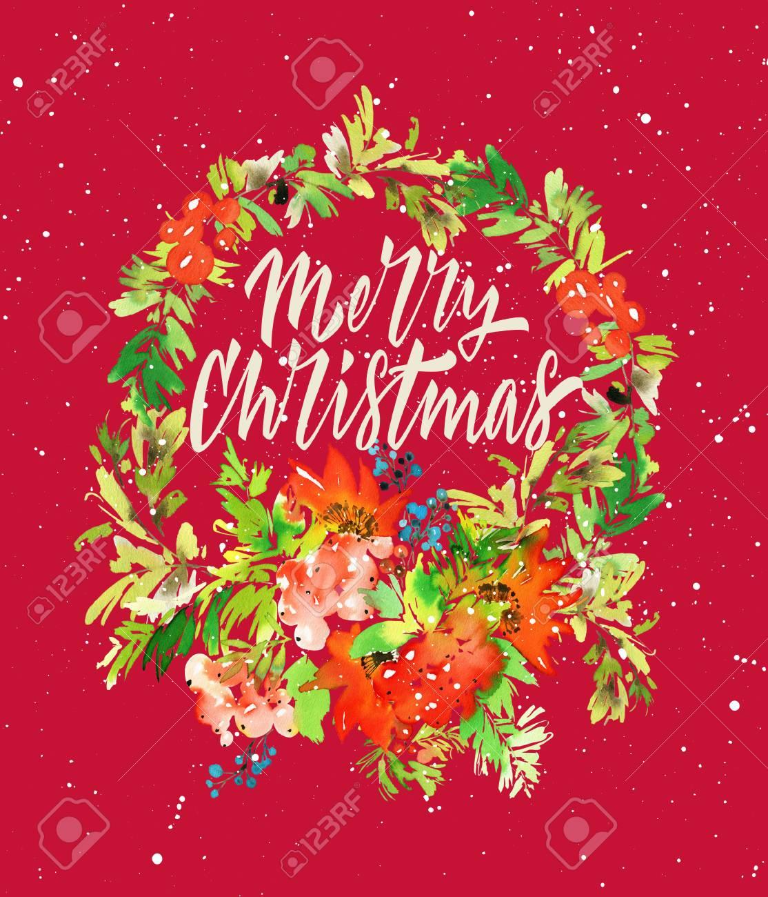 クリスマス カード。手作り水彩イラスト。 写真素材 , 63813960