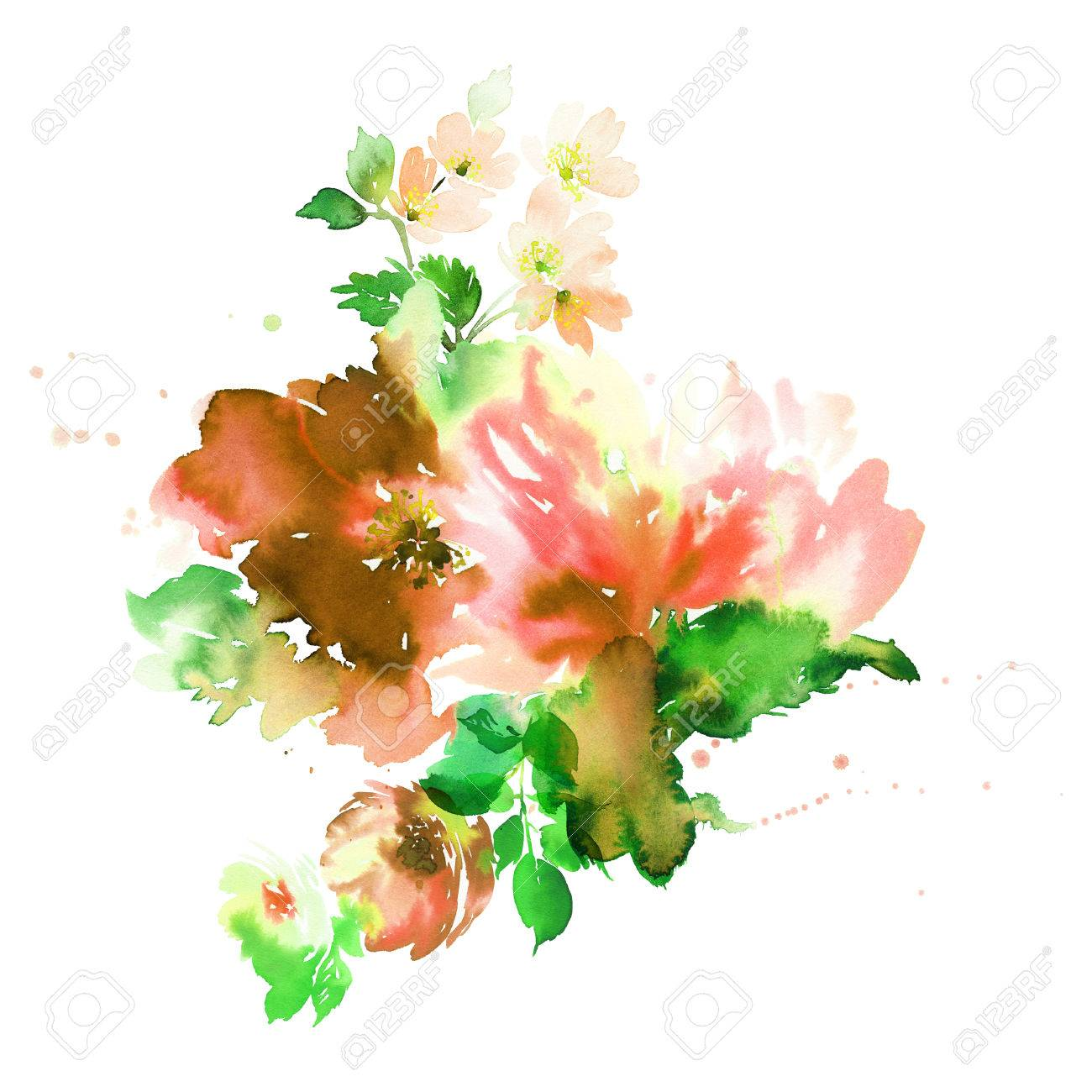 Bouquet Of Spring Delicate Watercolor Flowers For Wedding Greeting