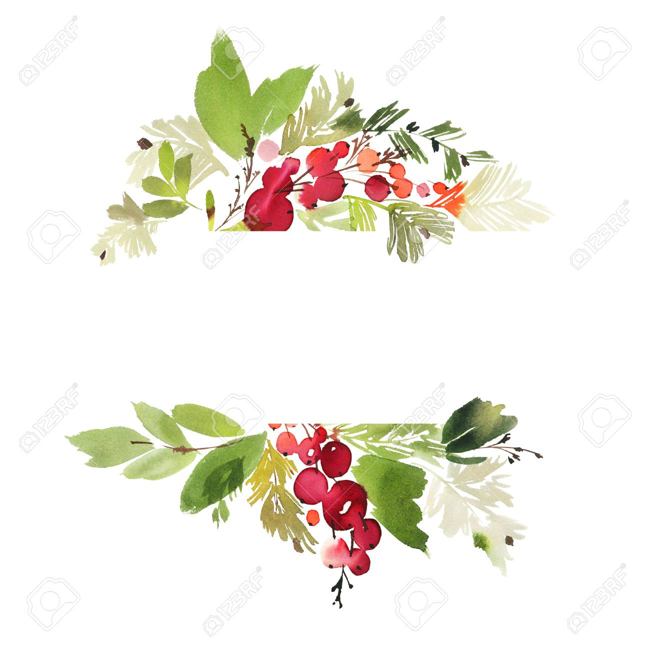 Christmas Watercolor Card With Berries And Flowers Stock Photo Picture And Royalty Free Image Image 88604601