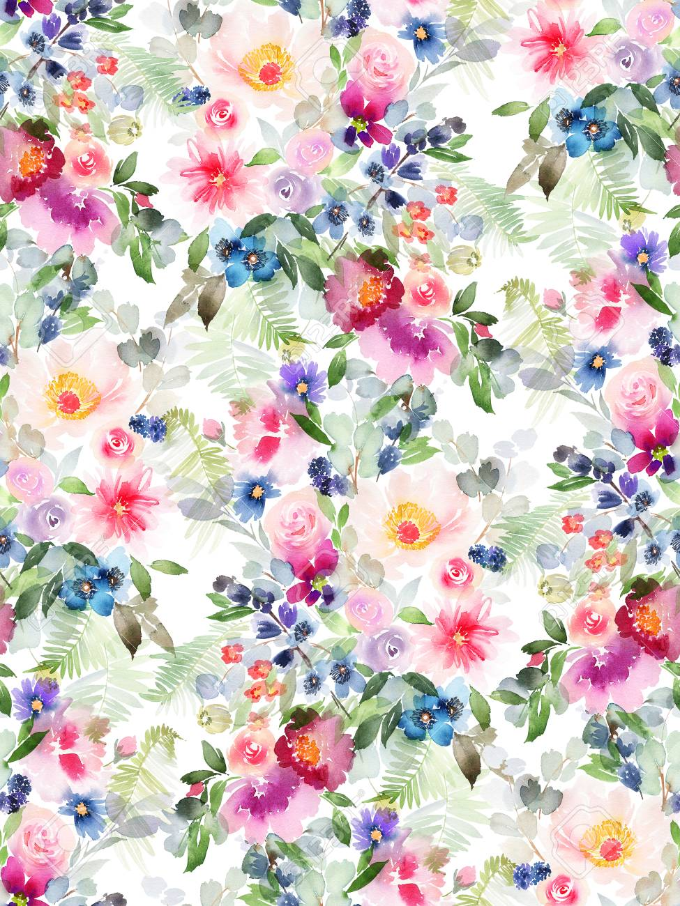 Seamless summer pattern with watercolor flowers handmade. - 106998390