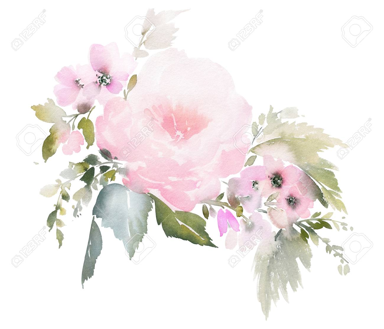 Watercolor floral illustration on white background for wedding invitations, cards. - 120463840