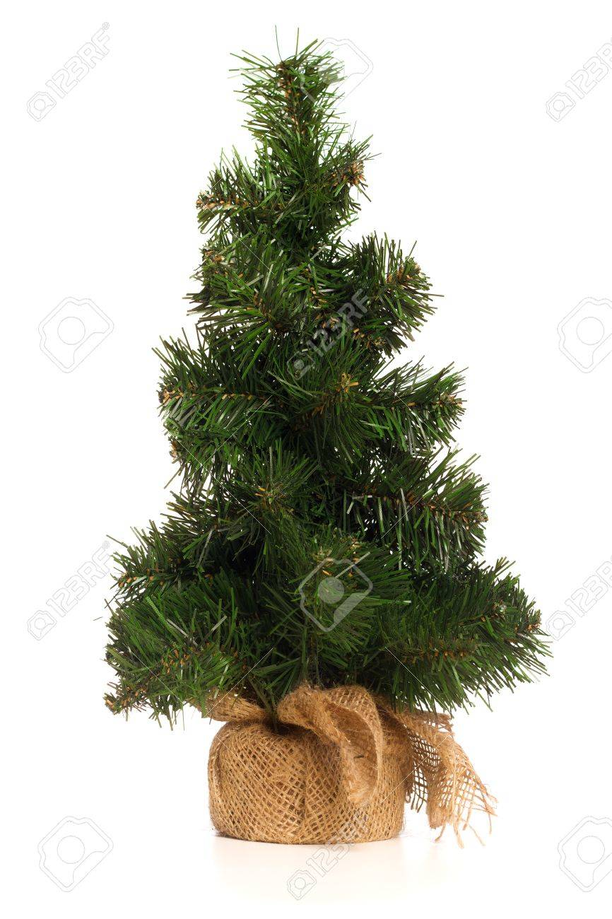 Fake Christmas Tree.Mini Fake Christmas Tree Isolated On White Background