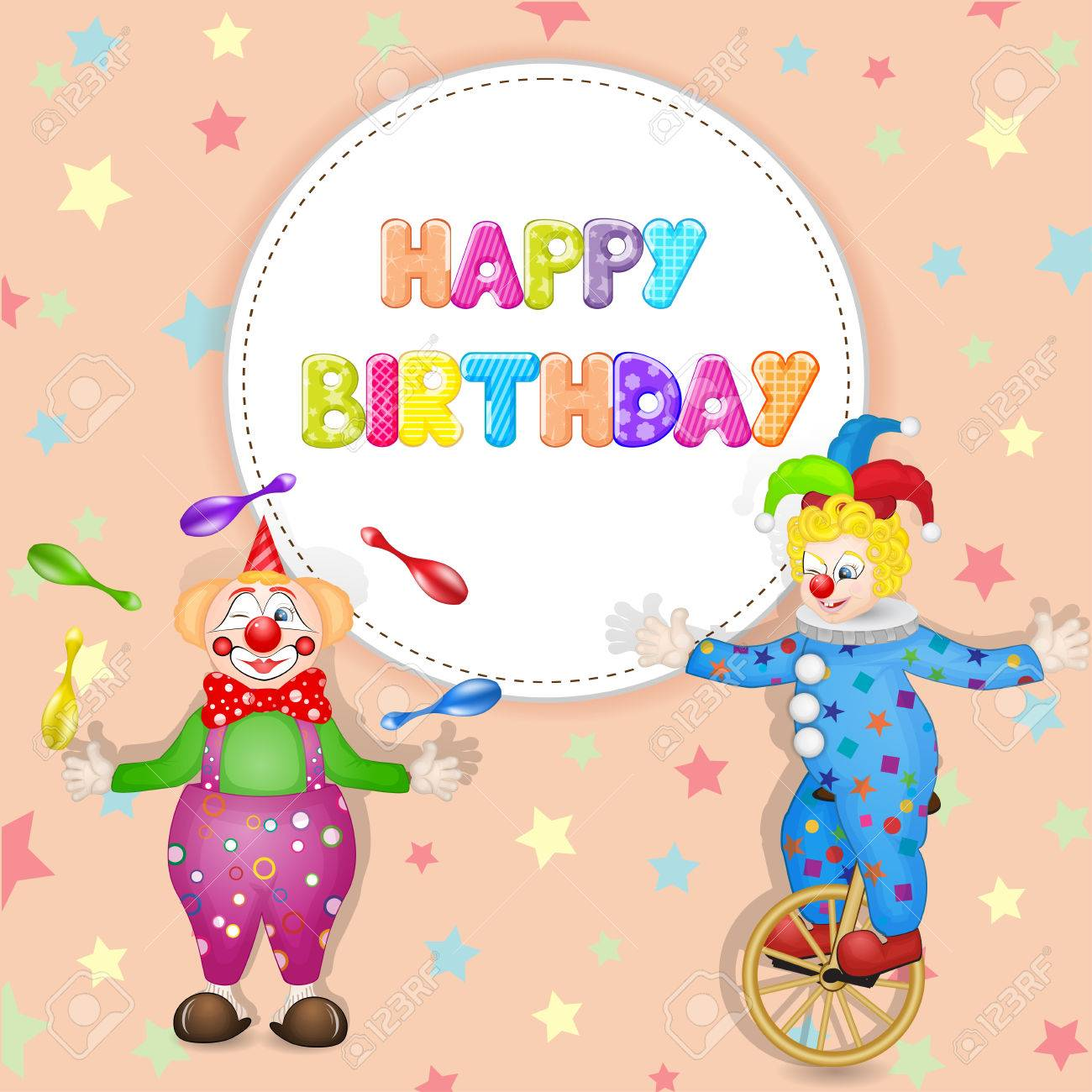 Happy birthday greetings cute happy birthday card with fun clowns happy birthday greetings cute happy birthday card with fun clowns stock photo 51656211 kristyandbryce Images