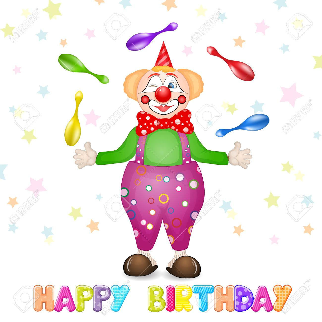 Happy Birthday Greetings Cute Happy Birthday Card With Fun Clowns Stock Photo Picture And Royalty Free Image Image 51656388