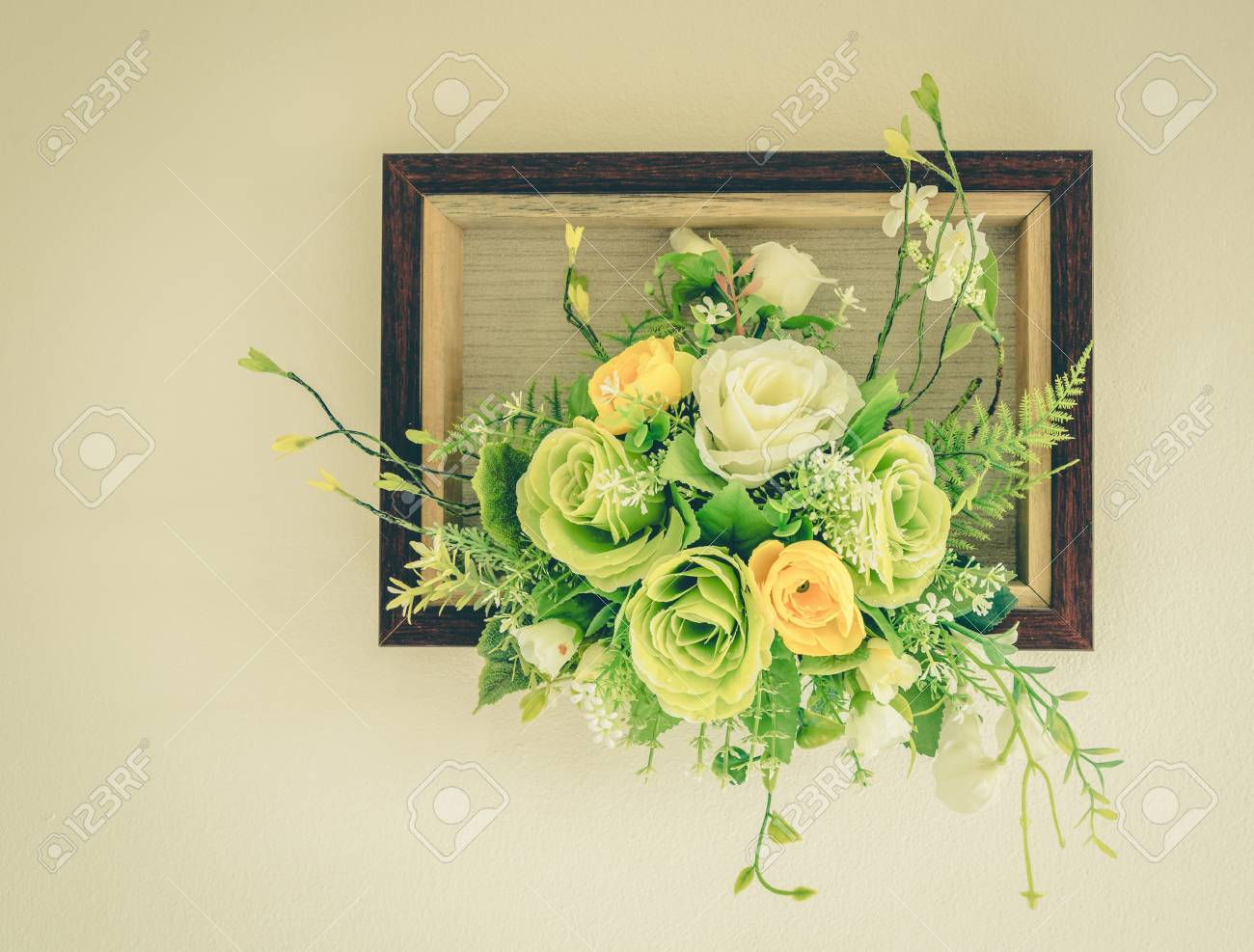 Fake Flowers With White Wall Vintage Stock Photo Picture And