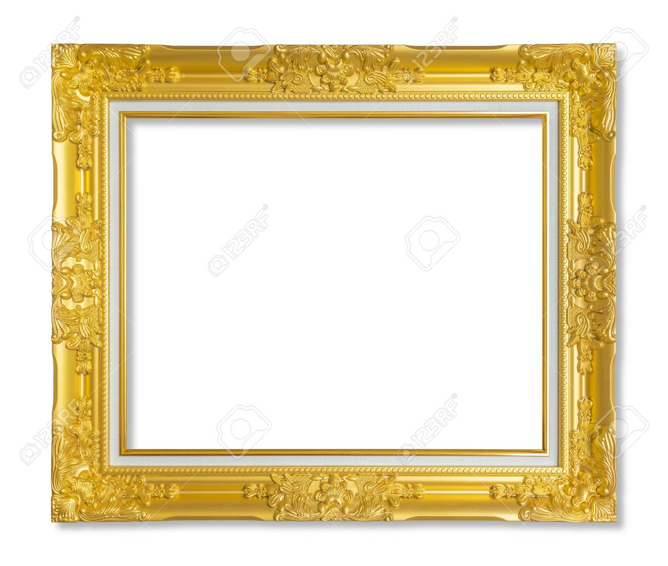 e93e26229d8 Gold frame for painting or picture on white background. Stock Photo -  101703333