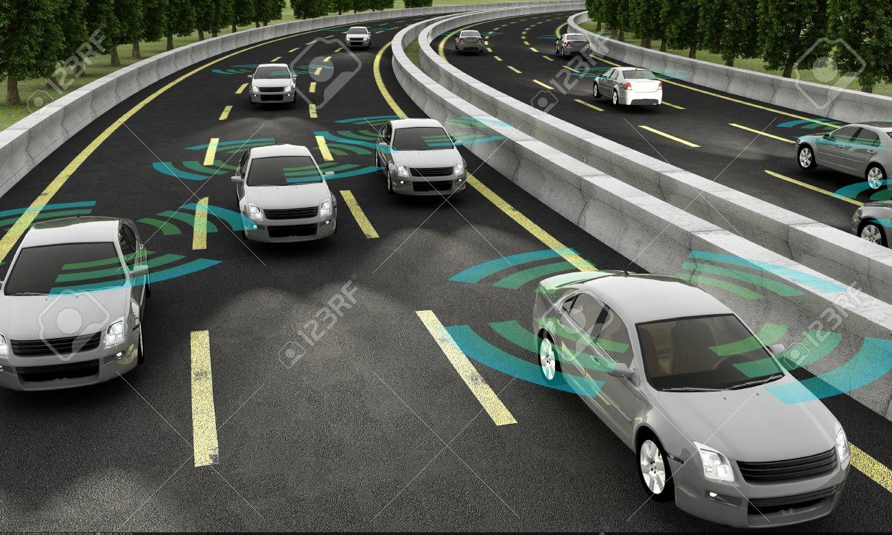 Autonomous cars on a road with visible connection - 64405483