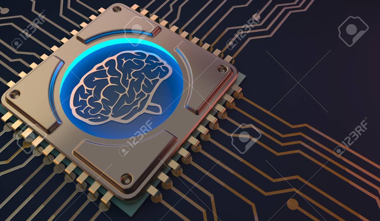 machine learning Brain symbol on circuit board 3d Rendering - 93774990