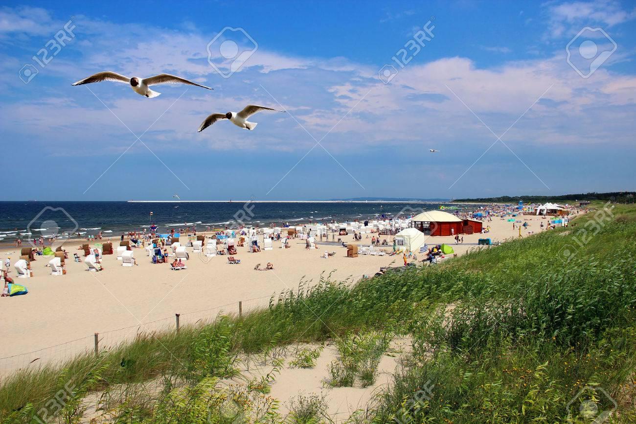 Beliebte Ostsee Strand Auf Der Insel Usedom In Swinemunde Polen