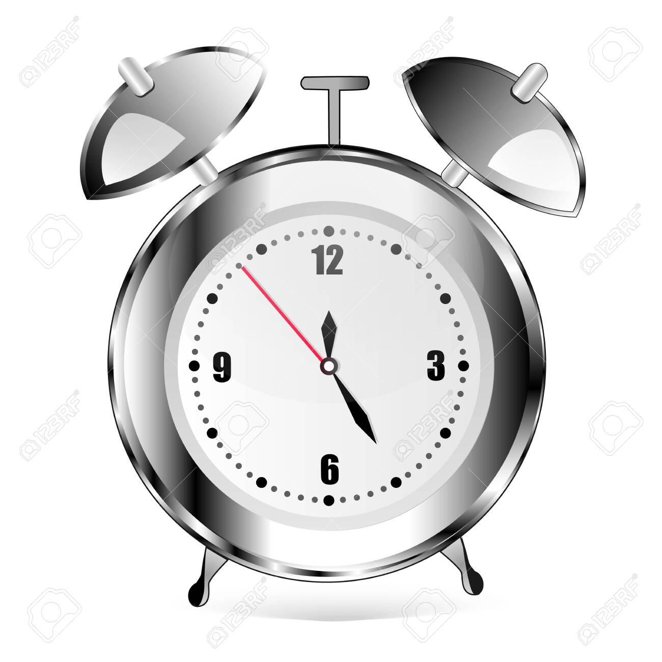 Alarm clock on white. Metal. Grey clock. good - 137755449