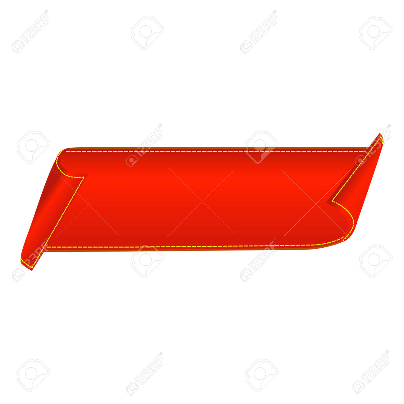 Sale banner. Red curved ribbon isolated on white background. Vector illustration - 145370955
