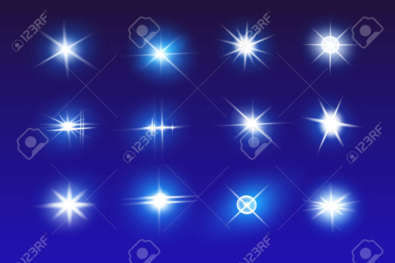 Set of Vector Neon Light Effects. Blue glowing light explodes .Bright Star. Special line flare light effects for design and decor. Blue background. - 146452786