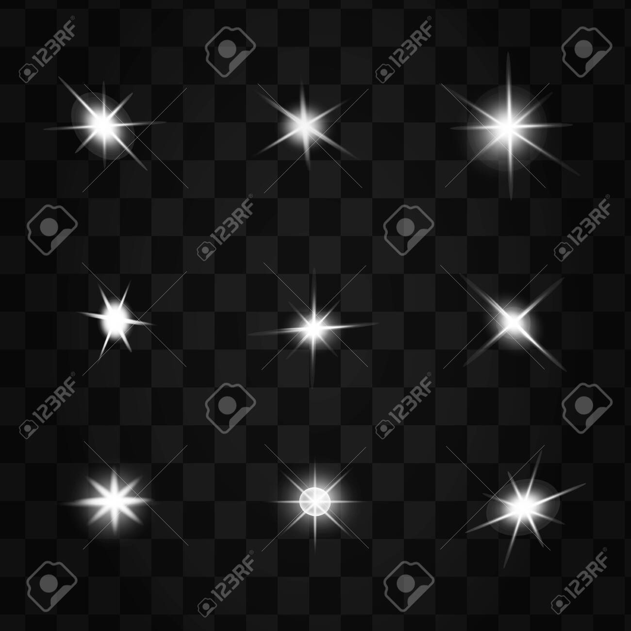 glowing lights effects isolated on black background. Sun flash with rays and spotlight. Glow light effect. Star burst with sparkles. - 146488435