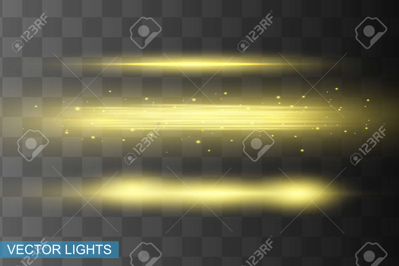 Abstract yellow laser beam. Transparent isolated on black background. Vector illustration.the lighting effect.floodlight directional - 159090737