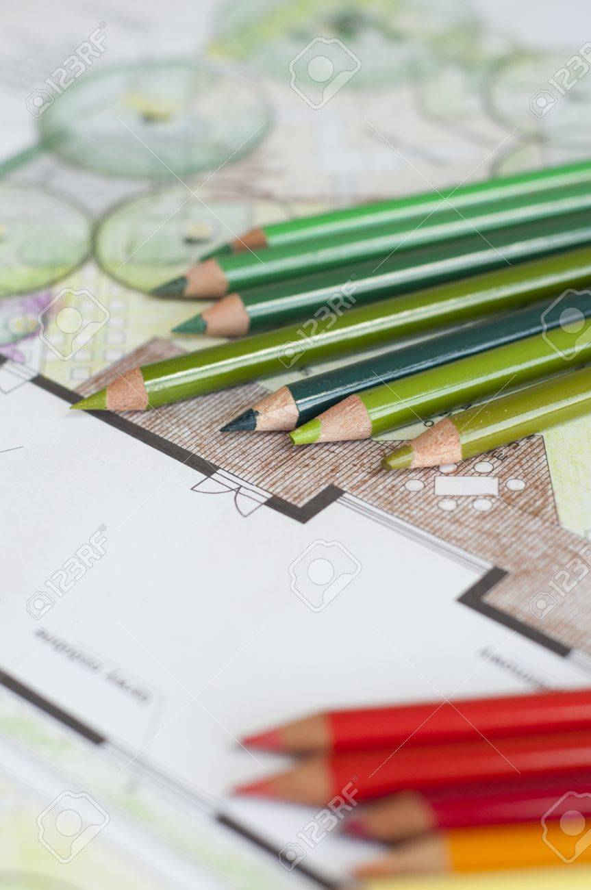 Crayons on a bockground of a garden project Stock Photo - 13797947