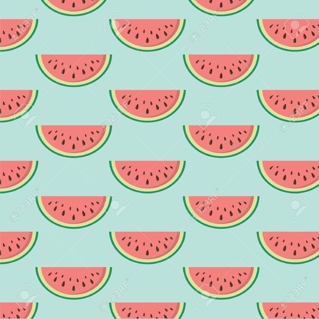 Seamless texture with slices of watermelon. Vector. - 69919068