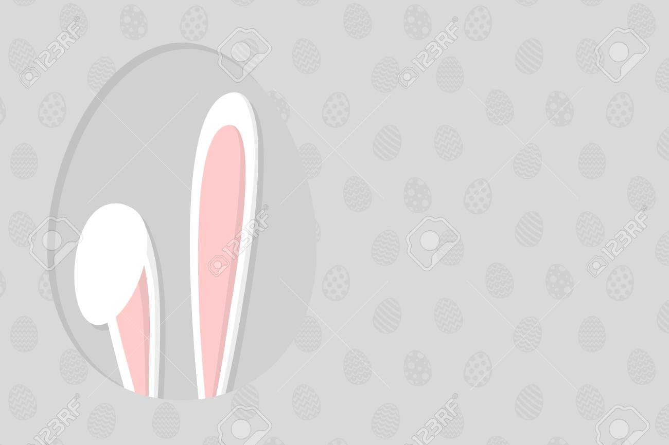 Template Of A Header With Easter Bunny Ear. Vector Illustration ...